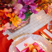Reception, Real Weddings, orange, Destination Weddings, Summer Weddings, Summer Real Weddings, Orchid, Menu, Napkin, Fuschia, Charger, Place setting, Destination Real Wedding, Hawaiian Real Wedding, Hawaiian Weddings, Tropical Weddings, Tropical Real Weddings