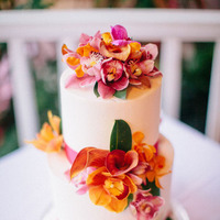 Cakes, Real Weddings, Wedding Style, yellow, orange, pink, Destination Weddings, Modern Wedding Cakes, Round Wedding Cakes, Wedding Cakes, Summer Weddings, Summer Real Weddings, Contemporary, Destination Real Wedding, Hawaiian Real Wedding, Hawaiian Weddings, Tropical Weddings, Tropical Real Weddings