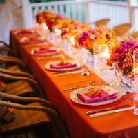 Reception, Flowers & Decor, Destinations, Real Weddings, Wedding Style, orange, Destination Weddings, Candles, Summer Weddings, Summer Real Weddings, Tabletop, Fuchsia, Candlelight, Destination Real Wedding, Hawaiian Real Wedding, Hawaiian Weddings, Tropical Weddings, Tropical Real Weddings