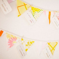 Flowers & Decor, Real Weddings, Wedding Style, yellow, Modern Real Weddings, Summer Weddings, West Coast Real Weddings, City Real Weddings, Summer Real Weddings, City Weddings, Modern Weddings, Summer Wedding Flowers & Decor, Pastel, Bunting, modern flowers & decor, banner flags