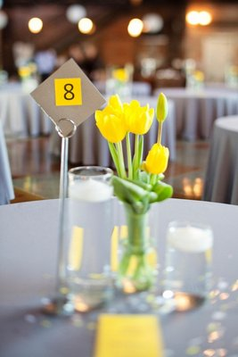 Flowers & Decor, Stationery, Real Weddings, Wedding Style, yellow, Centerpieces, Table Numbers, Modern Real Weddings, Summer Weddings, West Coast Real Weddings, City Real Weddings, Summer Real Weddings, City Weddings, Modern Weddings, Summer Wedding Flowers & Decor