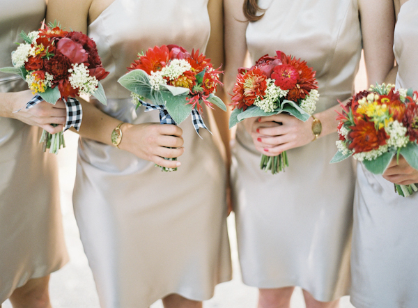 Flowers & Decor, Real Weddings, Summer Real Weddings, Summer wedding, Gingham, East Coast Real Weddings, East Coast Weddings, Picnic Real Wedding, Picnic Wedding, Sophisticated Real Weddings, Sophisticated Weddings, red bridesmaids bouquets