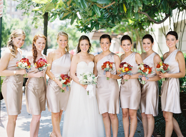 Bridesmaids Dresses, Fashion, Real Weddings, Wedding Style, Summer Real Weddings, Bridal party, Beige, Summer wedding, Red bouquets, East Coast Real Weddings, East Coast Weddings, Picnic Real Wedding, Picnic Wedding, Sophisticated Real Weddings, Sophisticated Weddings