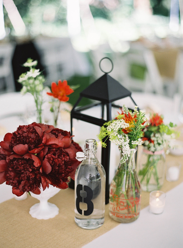Flowers & Decor, Real Weddings, red, Centerpieces, Rustic, Summer Real Weddings, Burlap, Summer wedding, Crimson, East Coast Real Weddings, East Coast Weddings, Picnic Real Wedding, Picnic Wedding, Sophisticated Real Weddings, Sophisticated Weddings