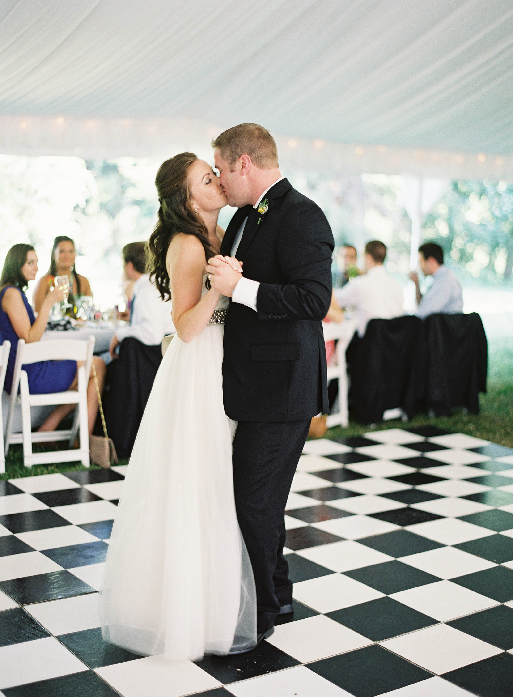Real Weddings, Summer Real Weddings, First dance, Dance floor, Summer wedding, Checkered, East Coast Real Weddings, East Coast Weddings, Picnic Real Wedding, Picnic Wedding, Sophisticated Real Weddings, Sophisticated Weddings