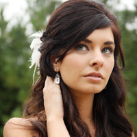 Beauty, Real Weddings, Wedding Style, Makeup, Half-up, Wavy Hair, Long Hair, Hairpin, Feathers, Northeast Real Weddings, Rustic Real Weddings, Garden Real Weddings, Garden Weddings, Rustic Weddings