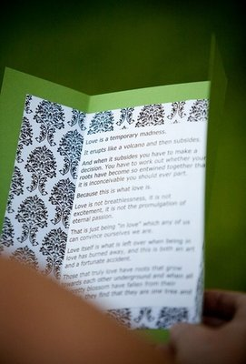 Stationery, Real Weddings, Wedding Style, green, Ceremony Programs, Modern Real Weddings, Summer Weddings, West Coast Real Weddings, Summer Real Weddings, Modern Weddings