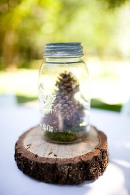 Flowers & Decor, Real Weddings, Wedding Style, Centerpieces, Rustic Real Weddings, West Coast Real Weddings, Rustic Weddings, Rustic Wedding Flowers & Decor, pine cones