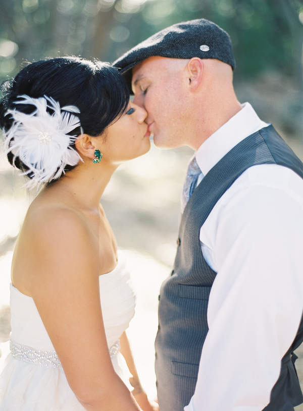Real Weddings, Kiss, Couple, Fascinator