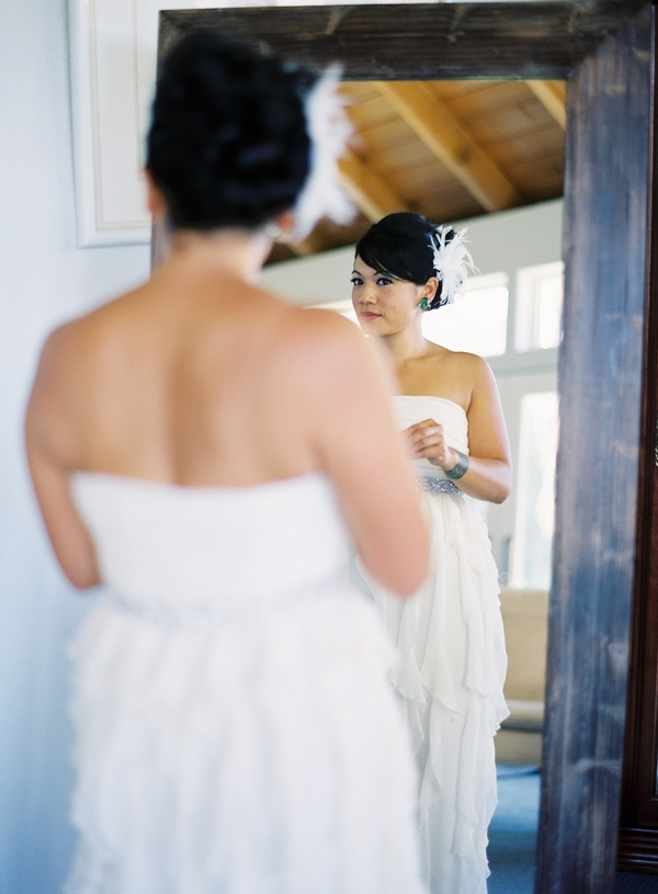 Beauty, Real Weddings, Updo, Feathers, Getting ready