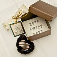 Favors & Gifts, Real Weddings, Wedding Style, brown, Edible Wedding Favors, West Coast Real Weddings, Winter Weddings, Vintage Real Weddings, Winter Real Weddings, Vintage Weddings, Chocolate