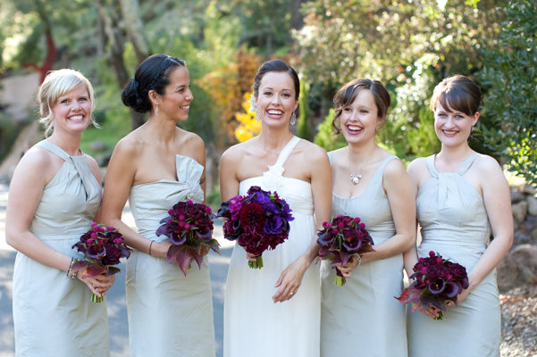 Bridesmaids Dresses, Fashion, Real Weddings, Wedding Style, ivory, red, purple, Bridesmaid Bouquets, Fall Weddings, West Coast Real Weddings, Fall Real Weddings, Glam Real Weddings, Vineyard Real Weddings, Glam Weddings, Vineyard Weddings