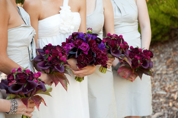 Flowers & Decor, Real Weddings, red, purple, Bridesmaid Bouquets, Fall Weddings, West Coast Real Weddings, Fall Real Weddings, Glam Real Weddings, Vineyard Real Weddings, Glam Weddings, Vineyard Weddings