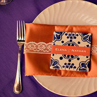 orange, purple, Fall Weddings, Fall Real Weddings, Table settings