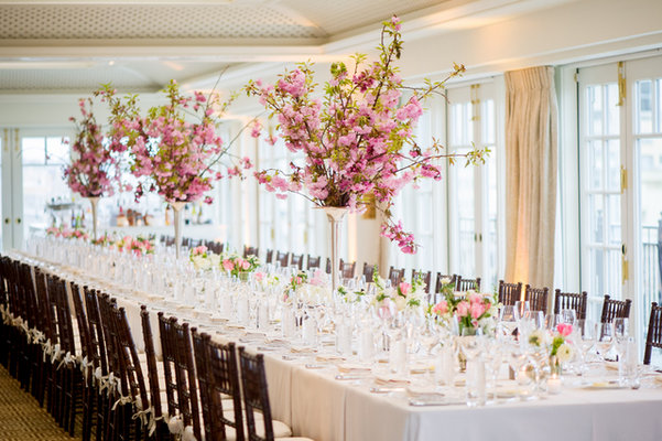 Reception, Flowers & Decor, Real Weddings, Wedding Style, pink, Centerpieces, Modern Real Weddings, Spring Weddings, Spring Real Weddings, Modern Weddings, Spring Wedding Flowers & Decor, Cherry blossoms, East Coast Real Weddings, East Coast Weddings