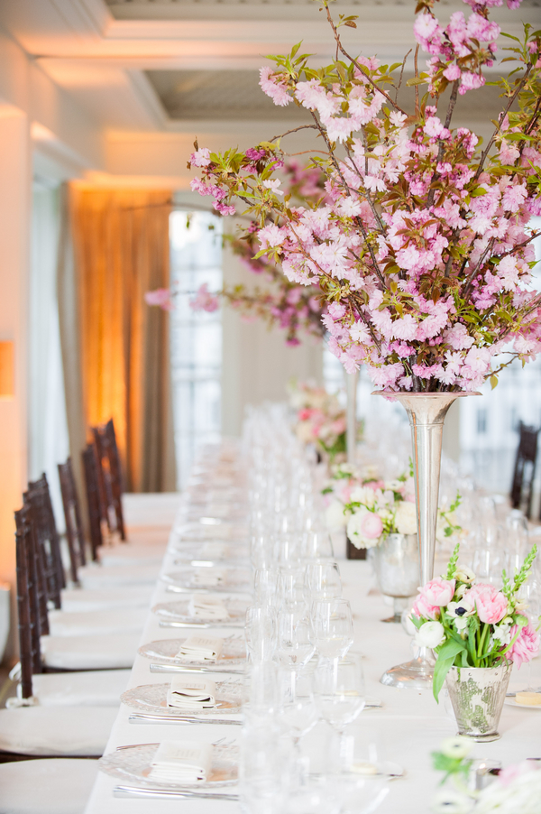 Flowers & Decor, Real Weddings, Wedding Style, pink, Centerpieces, Modern Real Weddings, Spring Weddings, Spring Real Weddings, Modern Weddings, Spring Wedding Flowers & Decor, Cherry blossoms, East Coast Real Weddings, East Coast Weddings