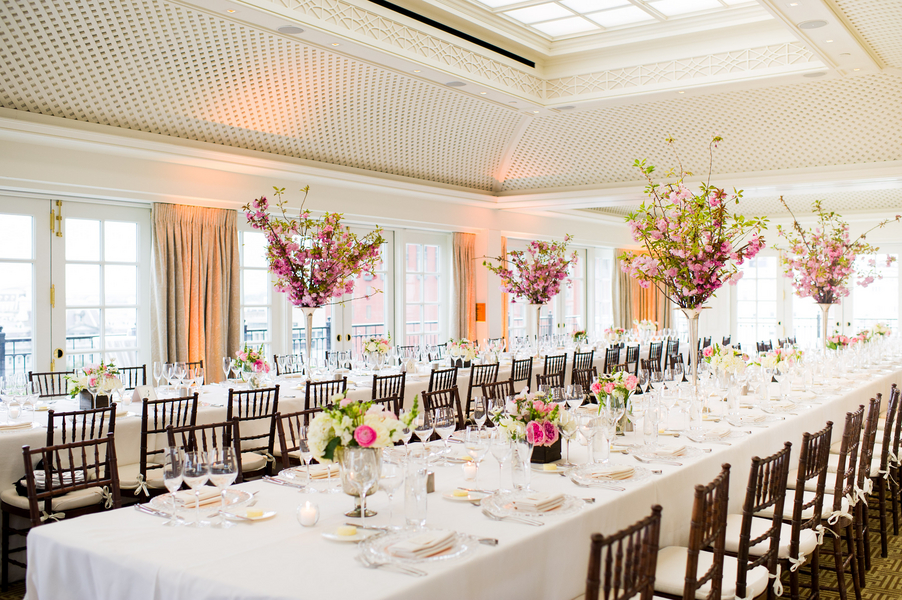 Reception, Flowers & Decor, Real Weddings, Wedding Style, pink, Modern Real Weddings, Spring Weddings, Spring Real Weddings, Modern Weddings, Spring Wedding Flowers & Decor, Cherry blossoms, East Coast Real Weddings, East Coast Weddings