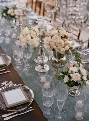 Flowers & Decor, Real Weddings, Wedding Style, ivory, blue, green, silver, Centerpieces, Summer Weddings, West Coast Real Weddings, Summer Real Weddings, Vintage Real Weddings, Vintage Weddings, Summer Wedding Flowers & Decor, Vintage Wedding Flowers & Decor, Table settings
