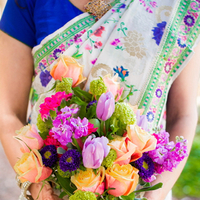 Flowers & Decor, Real Weddings, Wedding Style, purple, Bride Bouquets, Modern Real Weddings, Summer Weddings, West Coast Real Weddings, Summer Real Weddings, Modern Weddings, Summer Wedding Flowers & Decor, Peach, Colorful, Indian wedding, Jewish wedding, West Coast Weddings, Multicultural Real Weddings, Multicultural Weddings, Indian Real Wedding, Jewish Real Wedding