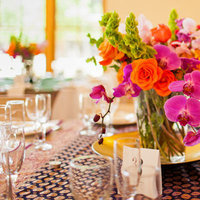 Reception, Flowers & Decor, Real Weddings, Wedding Style, orange, purple, Centerpieces, Modern Real Weddings, Summer Weddings, West Coast Real Weddings, Summer Real Weddings, Modern Weddings, Summer Wedding Flowers & Decor, Orchids, Colorful, Vibrant, Indian wedding, West Coast Weddings, Multicultural Weddings, Indian Real Wedding