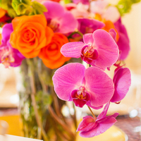 Flowers & Decor, Real Weddings, Wedding Style, orange, pink, Centerpieces, Modern Real Weddings, Summer Weddings, West Coast Real Weddings, Summer Real Weddings, Modern Weddings, Summer Wedding Flowers & Decor, Orchids, Colorful, Indian wedding, Jewish wedding, West Coast Weddings, Multicultural Real Weddings, Indian Real Wedding, Jewish Real Wedding