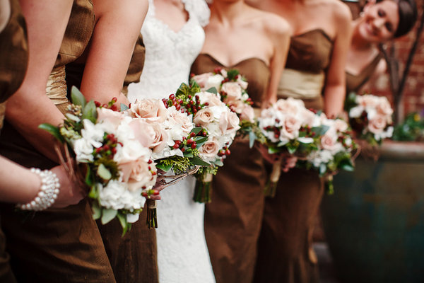 Bridesmaids Dresses, brown, Southern Real Weddings, Bouquets