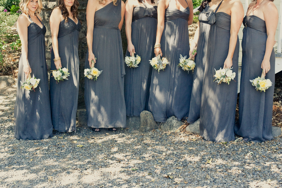 Bridesmaids Dresses, Fashion, Real Weddings, Wedding Style, gray, Summer Weddings, West Coast Real Weddings, Summer Real Weddings, Grey