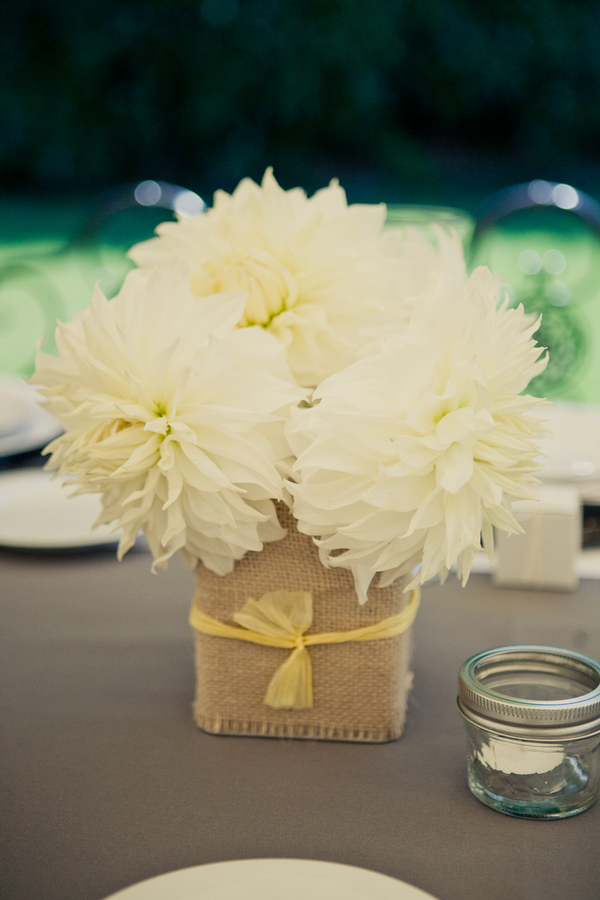 Flowers & Decor, Real Weddings, Wedding Style, yellow, Centerpieces, Summer Weddings, West Coast Real Weddings, Summer Real Weddings, Rustic Wedding Flowers & Decor, Summer Wedding Flowers & Decor, Burlap