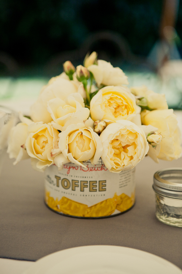 Flowers & Decor, Real Weddings, Wedding Style, yellow, Centerpieces, Summer Weddings, West Coast Real Weddings, Summer Real Weddings, Rustic Wedding Flowers & Decor, Summer Wedding Flowers & Decor