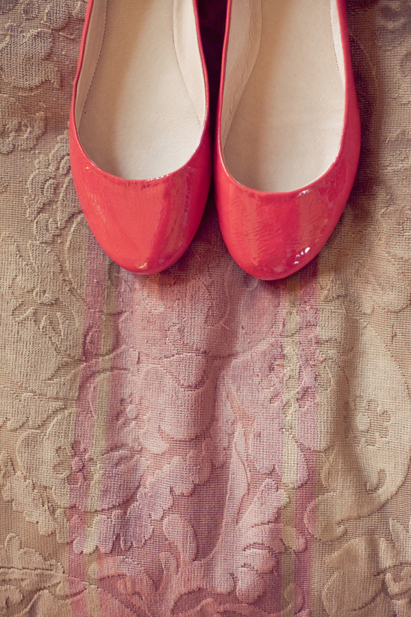 Shoes, red, West Coast Real Weddings, Bridal shoes