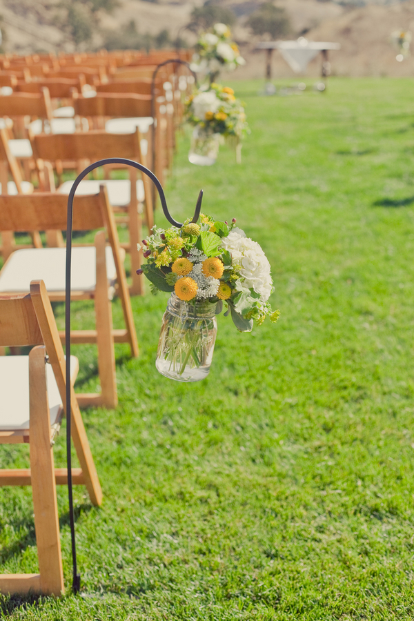 Ceremony Flowers, West Coast Real Weddings, Mason jars