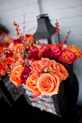 Flowers & Decor, Real Weddings, Wedding Style, orange, Centerpieces, Fall Weddings, Northeast Real Weddings, City Real Weddings, Fall Real Weddings, City Weddings, Fall Wedding Flowers & Decor