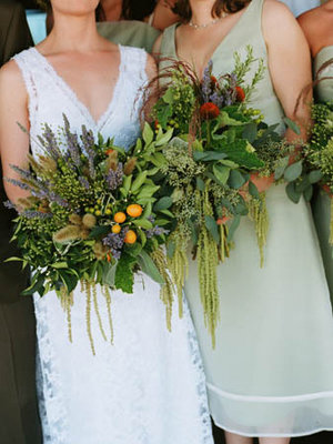 Flowers & Decor, Real Weddings, green, Bridesmaid Bouquets, Rustic Real Weddings, West Coast Real Weddings, Eco-Friendly Real Weddings, Summer Real Weddings, Vineyard Real Weddings, Eco-Friendly Weddings, Rustic Weddings, Vineyard Weddings, Eco-Friendly Wedding Flowers & Decor