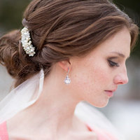 Beauty, Real Weddings, Wedding Style, Earrings, Wedding Day Jewelry, Chignon, Updo, Hairpin, Winter Weddings, Winter Real Weddings, preppy weddings, mid-atlantic real weddings, preppy real weddings