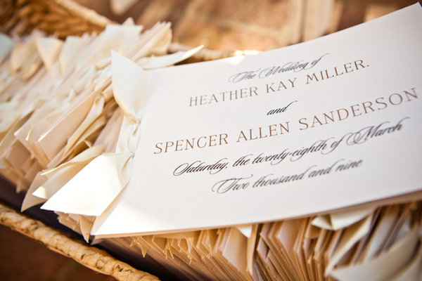 Stationery, Real Weddings, Wedding Style, white, ivory, Ceremony Programs, Classic Real Weddings, Classic Weddings, West Coast Weddings