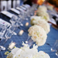 Flowers & Decor, Real Weddings, Wedding Style, white, blue, Centerpieces, Candles, Summer Weddings, West Coast Real Weddings, Classic Real Weddings, Summer Real Weddings, Classic Weddings, Classic Wedding Flowers & Decor, Summer Wedding Flowers & Decor, Table settings, preppy weddings, preppy real weddings