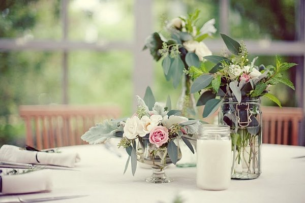 Flowers & Decor, Real Weddings, Wedding Style, Centerpieces, Candles, Southern Real Weddings, Garden Real Weddings, Garden Weddings, Garden Wedding Flowers & Decor, Table settings
