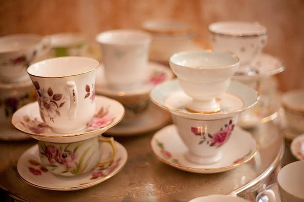Flowers & Decor, Real Weddings, Wedding Style, Southern Real Weddings, Garden Real Weddings, Garden Weddings, Vintage Wedding Flowers & Decor, teacups