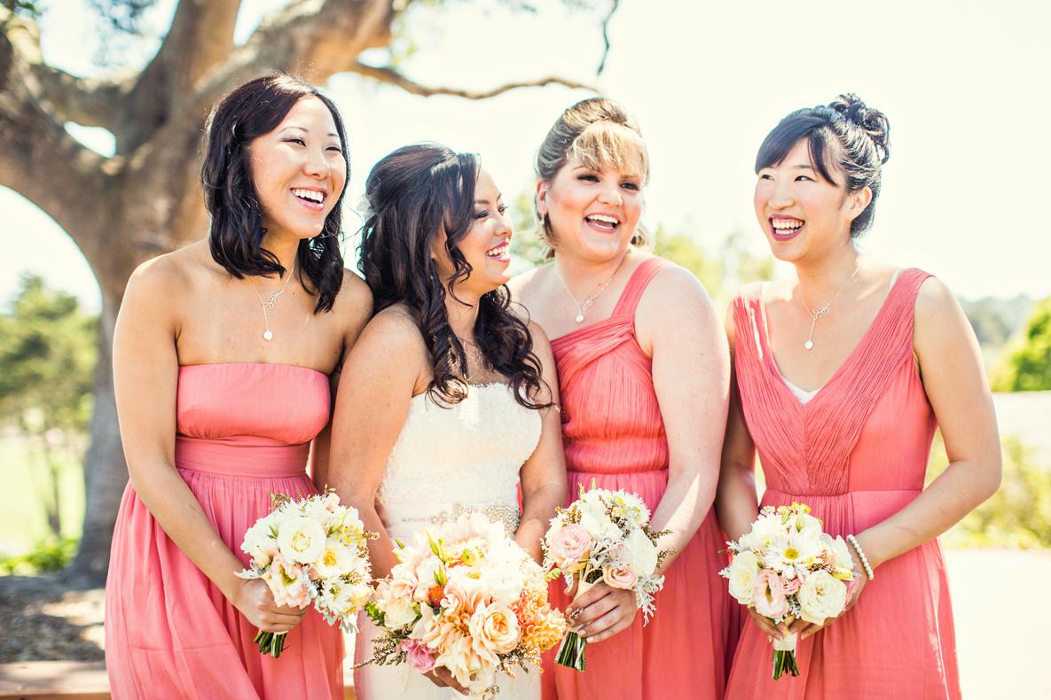Bridesmaid Dresses, Fashion, Real Weddings, Wedding Style, pink, Summer Weddings, West Coast Real Weddings, Garden Real Weddings, Summer Real Weddings, Garden Weddings, Coral