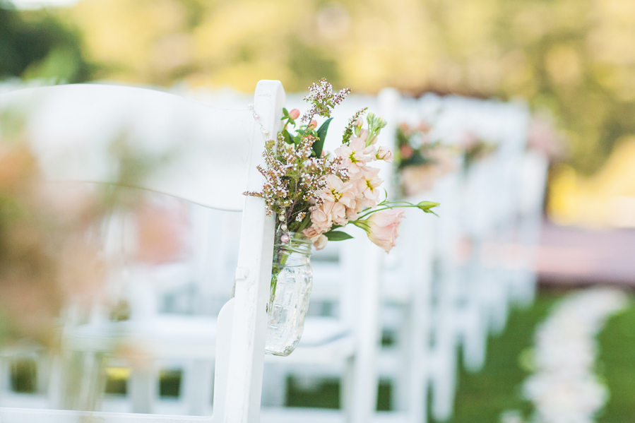 Flowers & Decor, Real Weddings, Wedding Style, pink, Ceremony Flowers, Aisle Decor, Summer Weddings, West Coast Real Weddings, Garden Real Weddings, Summer Real Weddings, Garden Weddings, Garden Wedding Flowers & Decor, Summer Wedding Flowers & Decor, Mason jars