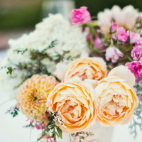 Flowers & Decor, Real Weddings, Wedding Style, orange, Centerpieces, Summer Weddings, West Coast Real Weddings, Garden Real Weddings, Summer Real Weddings, Garden Weddings, Garden Wedding Flowers & Decor, Summer Wedding Flowers & Decor, Roses, Dahlias