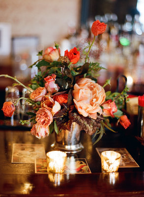 Flowers & Decor, Real Weddings, Wedding Style, red, Centerpieces, Fall Weddings, Northeast Real Weddings, Modern Real Weddings, City Real Weddings, Fall Real Weddings, City Weddings, Modern Weddings, Fall Wedding Flowers & Decor, Vintage Wedding Flowers & Decor