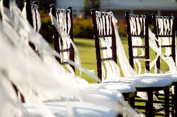 Ceremony, Flowers & Decor, Real Weddings, Outdoor, Ribbons, Chair decor, chair décor
