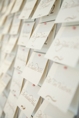 Stationery, Real Weddings, ivory, pink, Escort Cards, Romantic