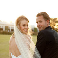 Real Weddings, Veil, Couple, Sunset