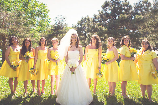 Bridesmaids Dresses, Bridesmaid Dresses, Fashion, Real Weddings, Wedding Style, yellow, Summer Weddings, Midwest Real Weddings, Summer Real Weddings