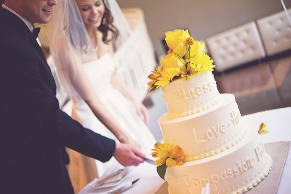 Cakes, Real Weddings, white, yellow, Floral Wedding Cakes, Round Wedding Cakes, Wedding Cakes, Summer Weddings, Midwest Real Weddings, Summer Real Weddings
