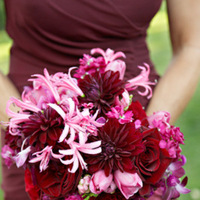 Flowers & Decor, Real Weddings, Wedding Style, red, Bridesmaid Bouquets, West Coast Real Weddings, Glam Real Weddings, Glam Weddings