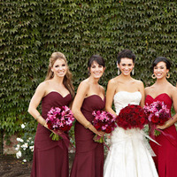 Bridesmaid Dresses, Fashion, Real Weddings, Wedding Style, red, West Coast Real Weddings, Glam Real Weddings, Glam Weddings