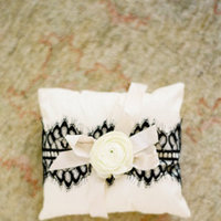 ivory, black, West Coast Real Weddings, Classic Weddings, Ring bearer pillow
